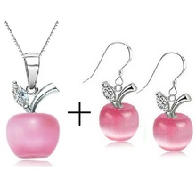 60% off  CZ Cubic Woman Fashion White Pink Apple Shaped Party Jewelry Sets 925 Silver Earrings with Necklace for Women ULOVE 335(China (Mainland))