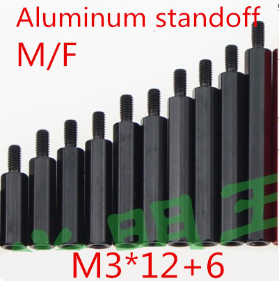20pcs/ lot High Quality M3*12+6  3 x 12  Male To Female Hex Black Aluminum Standoff  Spacer<br><br>Aliexpress
