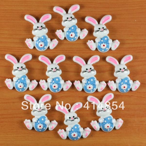 Wholesale 50 pcs Easter Bunny Rabbit with Blue Egg Resin Flatbacks Flat Back Scrapbooking Girl Hair Bow Center Crafts Making DIY(China (Mainland))