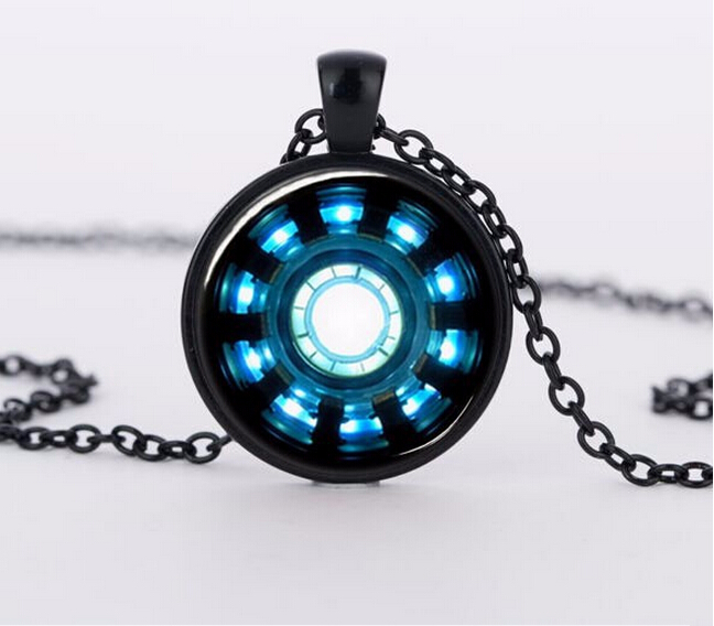 2015 charms necklaces iron arc reactor pendant glass