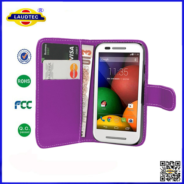 China Manufacturer New Product PU Wallet Leather Case For Motolora E(China (Mainland))