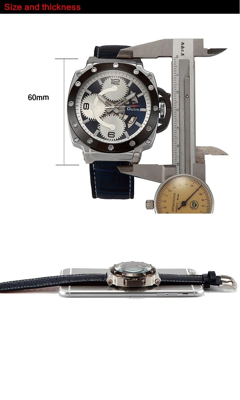 Мужчины часы Большой Циферблат Кожаный Ремешок Механические Часы Черного Золота спорт мода часы