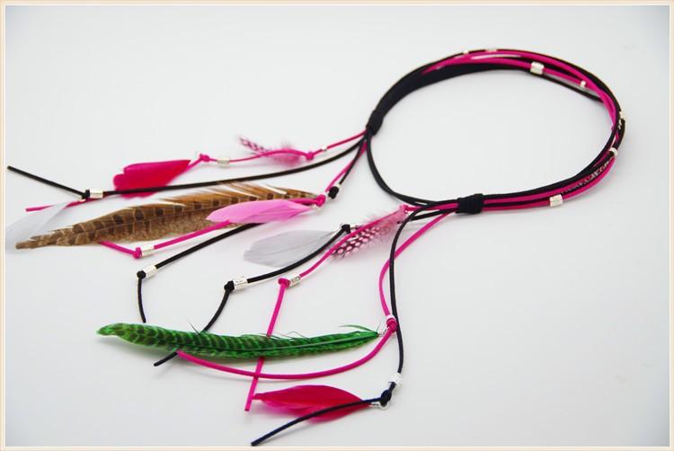 5pcs/lot CO0010 Boho Long Multi Feather Bead Threaded Hair Cuff Headband Hair Accessory Jewelry(China (Mainland))