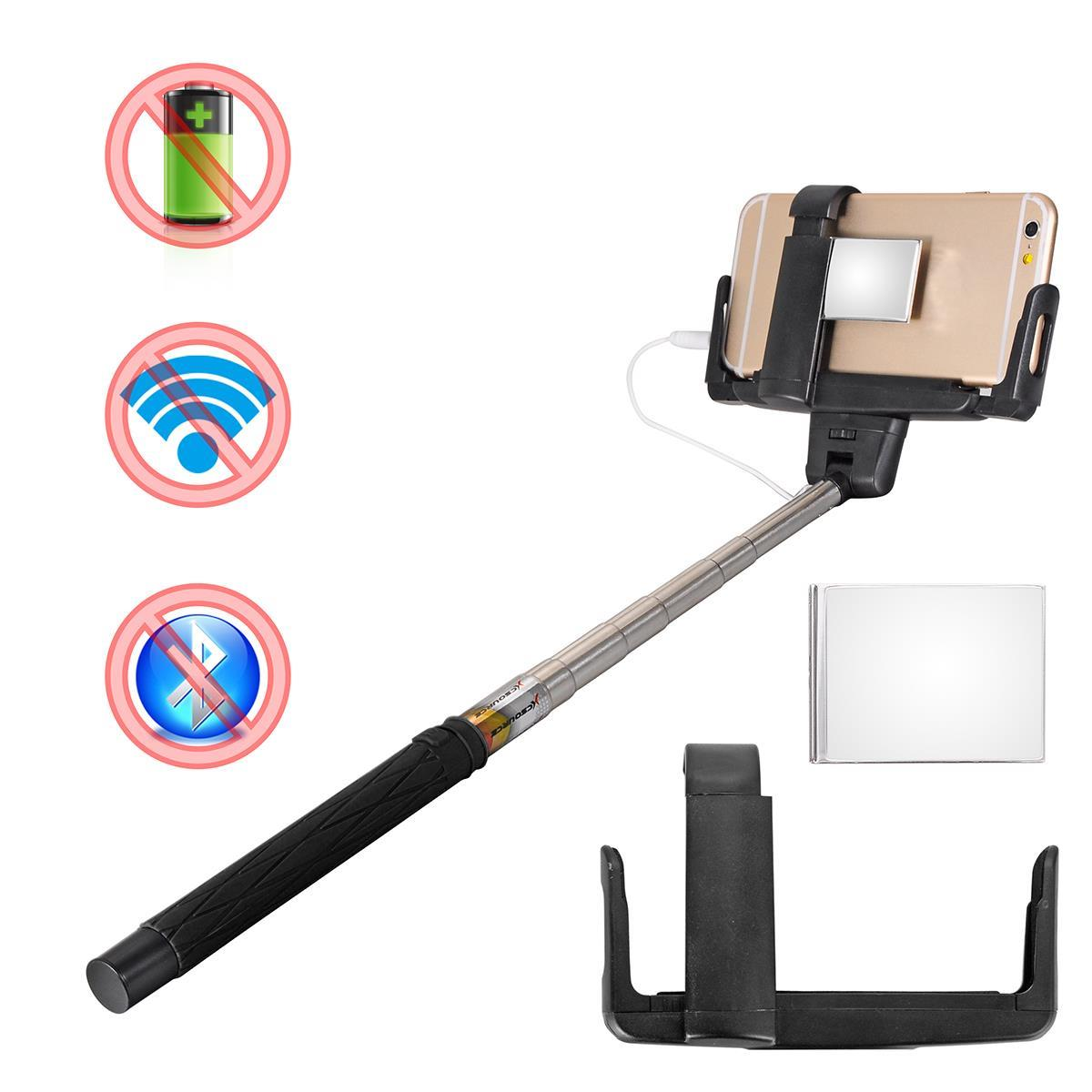 xcsource black selfietripod flexible wired control selfie stick extendable handheld monopod. Black Bedroom Furniture Sets. Home Design Ideas