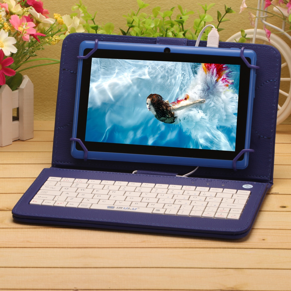 """iRULU eXpro X1 7"""" Tablet Allwinner A33 Android 4.4 Quad Core 8GB ROM 1024*600 HD Tablet PC with Purple Keyboard WIFI Tablet(China (Mainland))"""