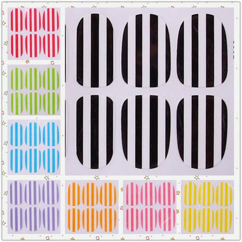 Hot fashion striped nail sticker 8 colore to choose Disposable Stickers nail make up tool 8 set/lot free shipping(China (Mainland))