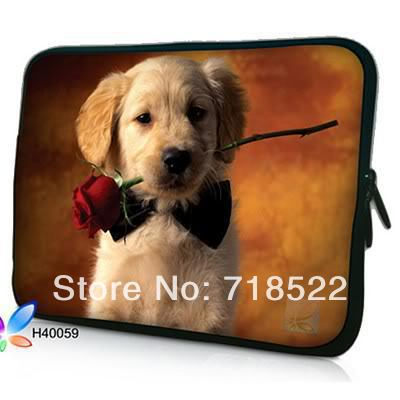 """14"""" Dog with Rose Laptop Soft Sleeve Case Notebook Bag Cover Pouch For 14"""" Pavilion,Soy Del XPS 14,Del M14x, 50pcs(China (Mainland))"""