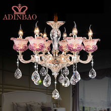 promotion luxury champagne pink purple color K9 crystal chandeliers lustres de cristal candle bulb chandelier romantic 8531-6(China (Mainland))