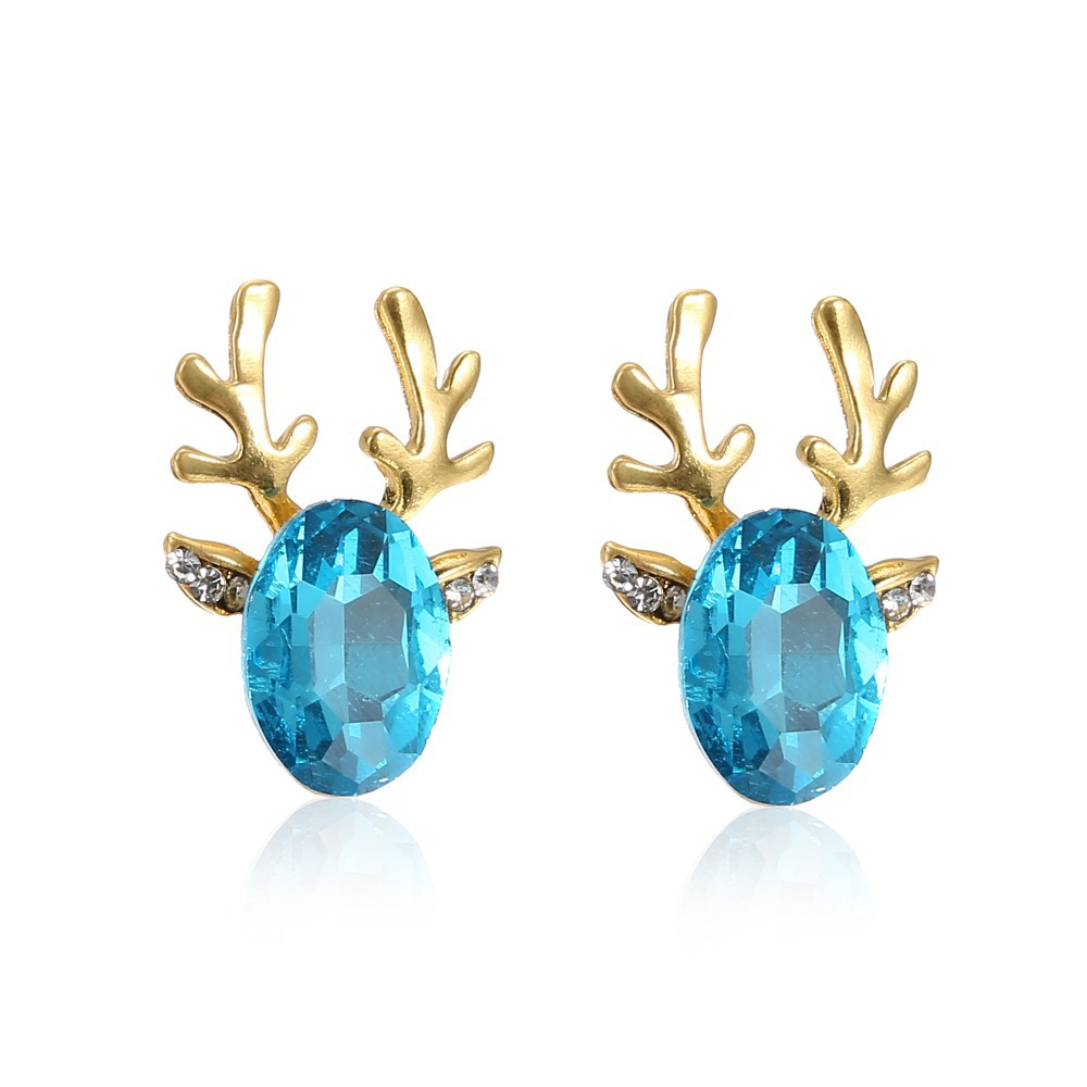 Big sale christmas gift cute blue crystal rhinestone stud