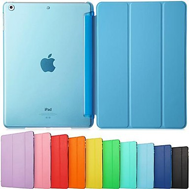 Ultra Slim Tri-Fold PU Leather with Crystal Hard Back Smart Stand Case Cover for iPad Air(China (Mainland))