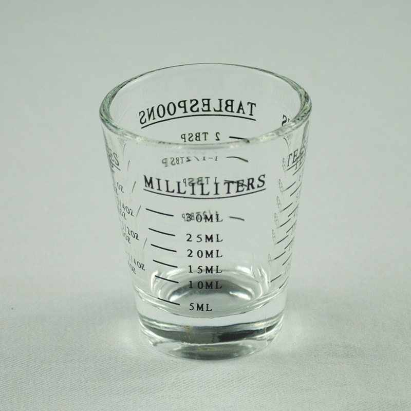 Set of 3 ounce cup glass measuring cup espresso four kinds of scale in terms of bartender flow cup coffee cup 30ml(China (Mainland))