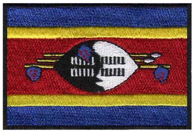 "Swaziland iron on embroidery flag patches logos 3"" wide free shipping/badge on clothes/decoration for clothes/iron ons(China (Mainland))"