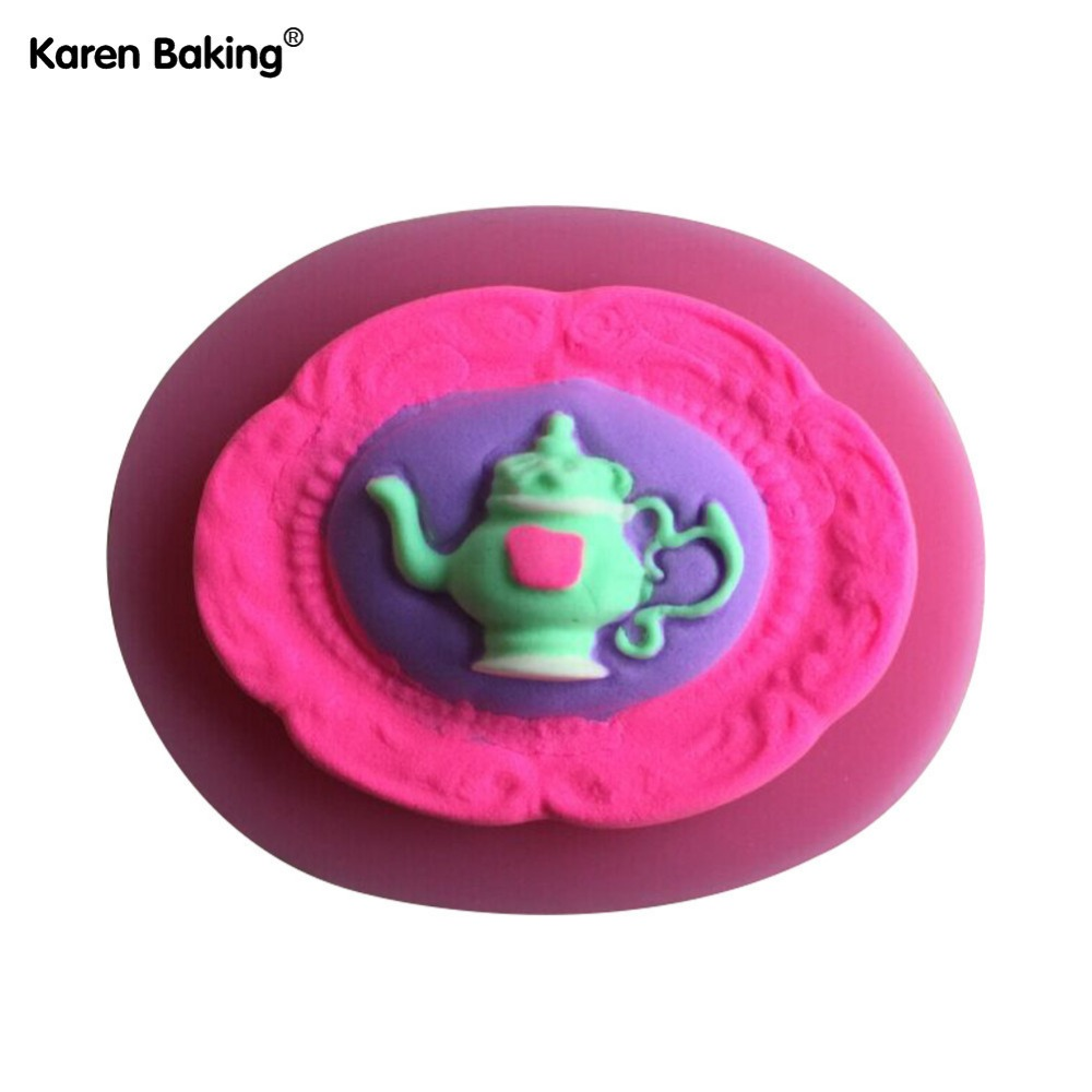 Classic And Beautiful Teapot Shape 3D Silicone Mold Chocolate Fondant Cake Decorating Tools --C458(China (Mainland))