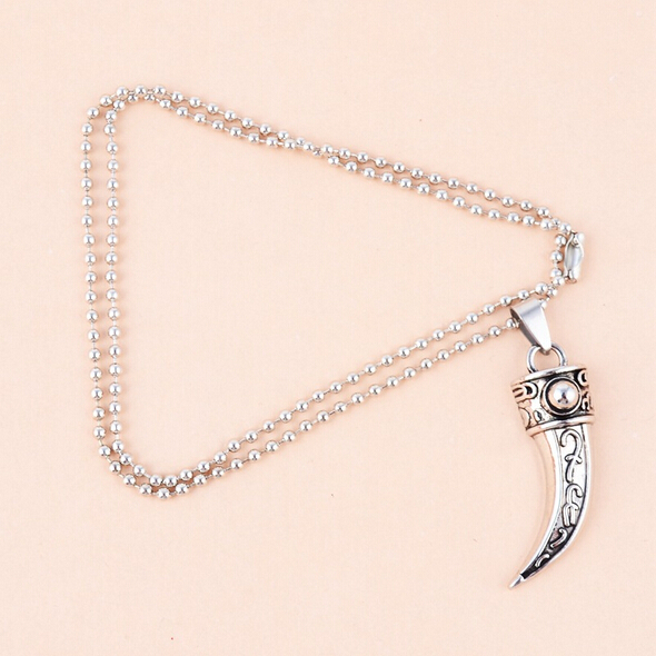 2015 New Arrival Mens Wolf Tooth Titanium Pendant Necklace Fashion Punk Vintage Necklace With Chain Men Jewelry N0022(China (Mainland))