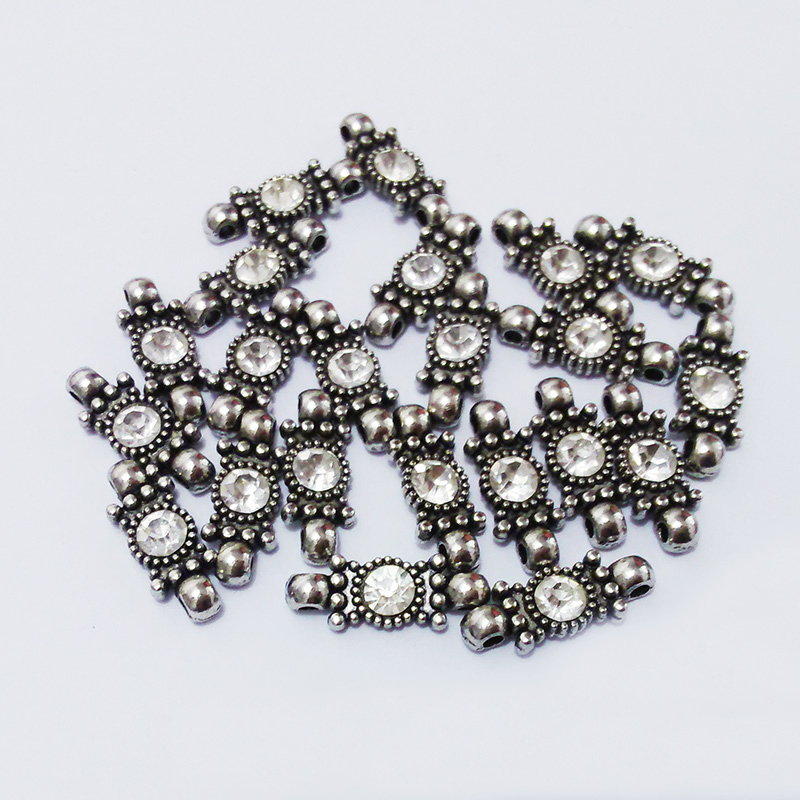 Rhinestone inlaid beads double loop hole jewelry making spacer bar bracelets earrings neckles accessoris for metal wire alambre(China (Mainland))