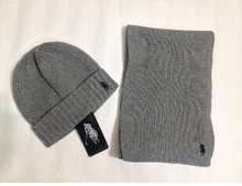 Hot Brand 2015 PoloA Knitted Wool Scarf And Cap Set Men and Women charming Winter Caps Beanies 4 colours Top quality(China (Mainland))