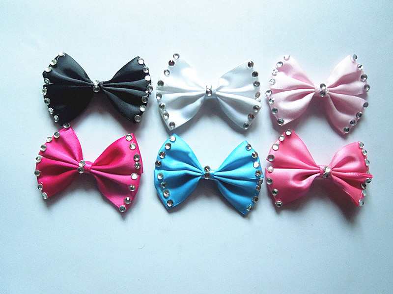 20pcs polyester flower with ribbon bow barrette craft DIY jewelry(China (Mainland))