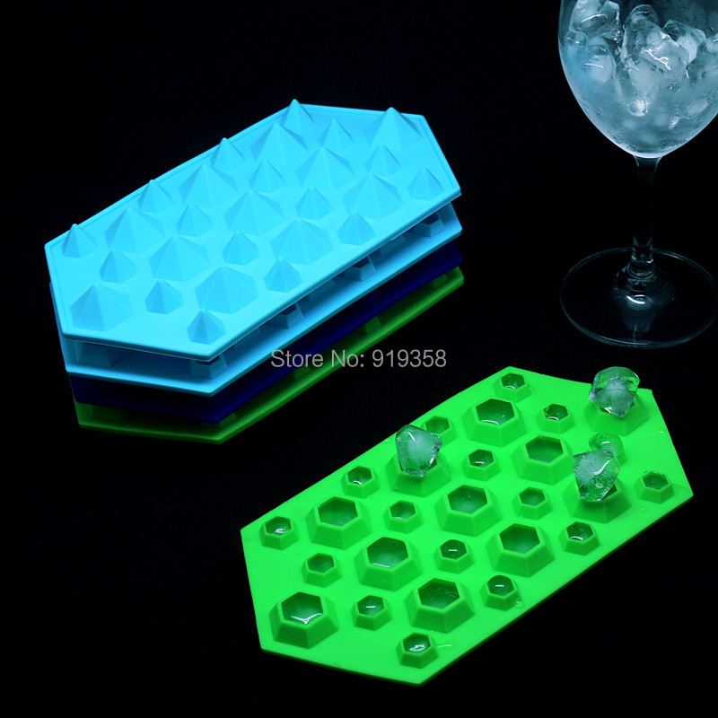 2014 New Diamond Mold Fondant Cake Decoration Mold Ice Cube Tray 27 Cavities Crystal Silicone Ice Mold Candy Mold(China (Mainland))
