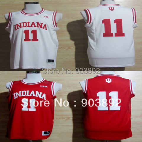 Ncaa Indiana Hoosiers #11 Isiah Thomas red/ white college basketball jerseys mix order free shipping(China (Mainland))