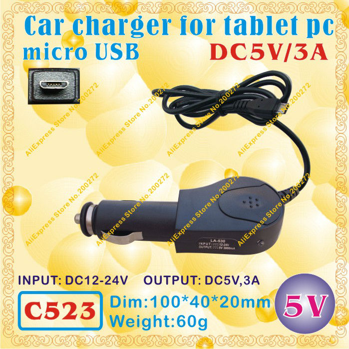 2pcs [C523] micro USB / 5V,3A Car charger for tablet pc;ONDA,CUBE,AMPE,SANEI,AINOL,VIDO,FREELANDER,ONN,IAIWAI,ALLFINE(China (Mainland))