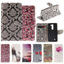 Flower Pattern Flip Cover For LG G4c /G4 mini PU Leather + Silicone Wallet Case For LG magna h502 Case phone Coque Fundas Capa