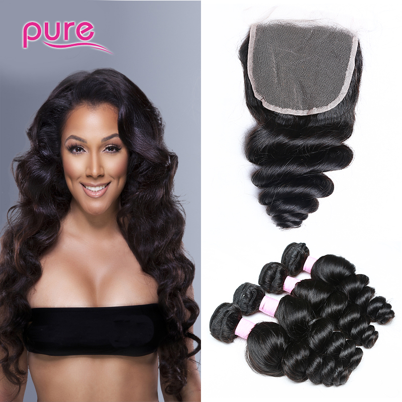 4 bundles indian curly virgin hair with closure 7a wet and wavy human hair weave natural body wave indian hair lace closure 4*4<br><br>Aliexpress