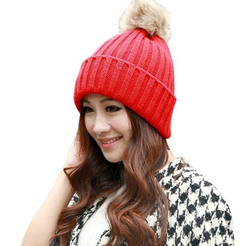 Winter Fashion Women Girls Warm Knitted Cap Rabbit Fur Hat Crochet Cap