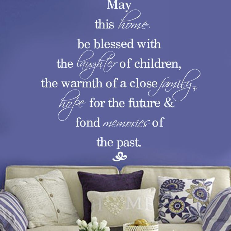 May this home be blessed quote wall decals vinyl art for Diy room decor quotes