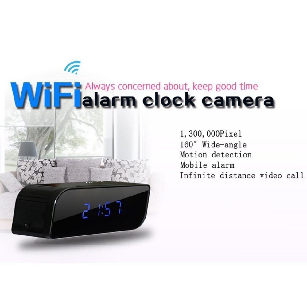 Wifi Alarm Clock Camera Clock HD720P P2P Home Mini Camera with Night Vision Motion Detection Mobile Alarm by WIFI Mobile phone(China (Mainland))