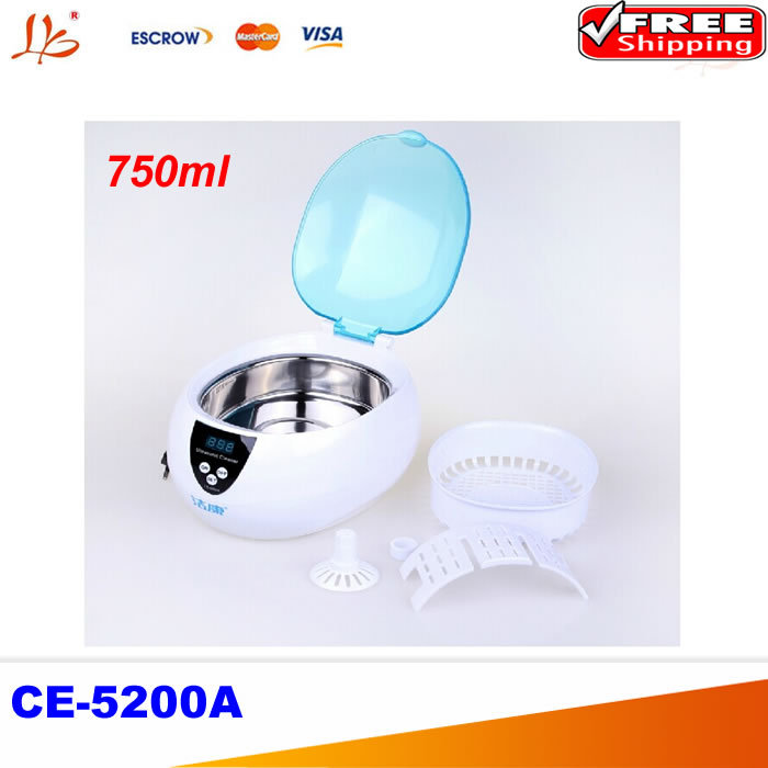 CE-5200A Digital Ultrasonic cleaner cleaning machine Jewelry Glasses Watch CD DVD 50W 220V 750ml(China (Mainland))