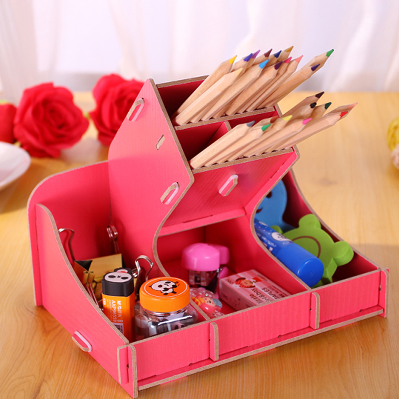 Creative Office Organizer DIY Pen Holder Wooden Pen Box Desk Organizer For Pens/Pencils/Office Desk Accessories(China (Mainland))