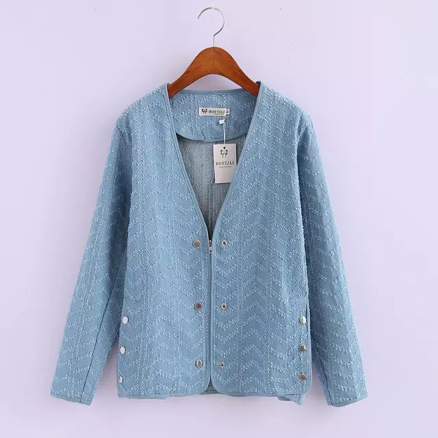 hipster Wavy Denim jacket women coat casual sexy cardigan ...
