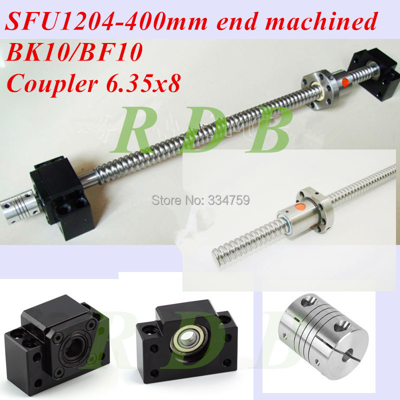 SFU1204 ball screw set : RM1204 L400mm end machined +SFU1204 single nut + BK/BF10 support coupler CNC parts - RDB BEARING AND MECHANICAL PARTS store
