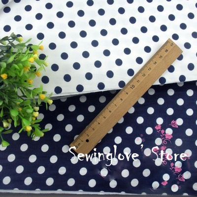 2meters/lot 100x160cm 100% cotton Nave Polka Dots prints fabric tissues sewing DIY quilting patchwork fabrics cotton cloth(China (Mainland))