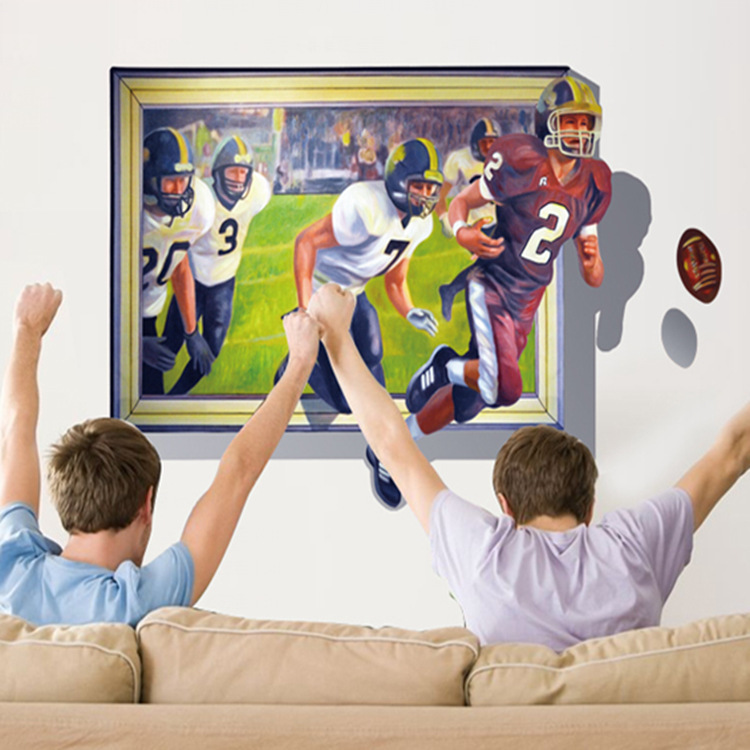 Very Fashion Popular Classical Home Decoration Out Large Removable Rugby Player PVC 3D Wall sticker(China (Mainland))