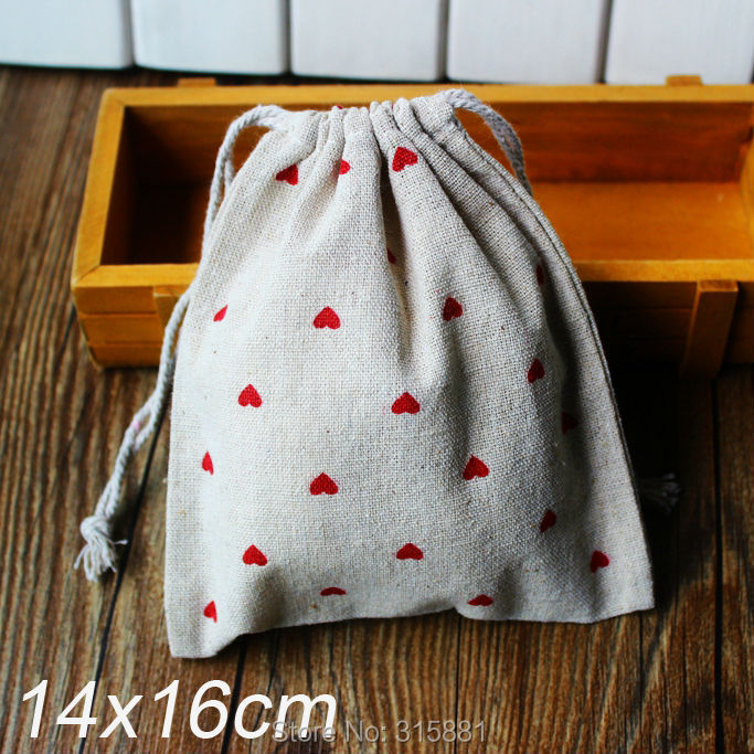 """Linen Bag Drawable Packaging Bag Wedding Gift Bags,Jewelry Bags """"Red heart print"""" 20pcs/lot(China (Mainland))"""