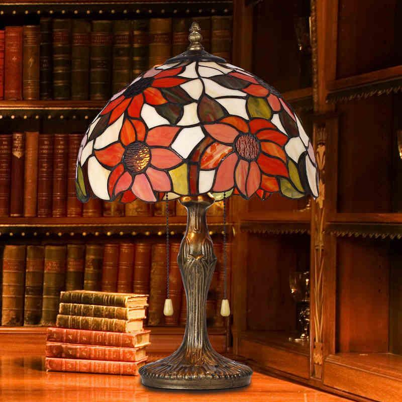 Stained Glass Table Lamp Art Deco Lampshade E27 LED Lighting Fixtures Tiffanylampe Abajur Para Quarto Lamparas De Mesa Lampe Hot(China (Mainland))