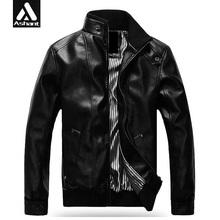 2016 New Fashion Male Leather Jacket Plus Size XXXL 4XL 5XL Black Brown Mens Mandarin Collar PU Coats(China (Mainland))