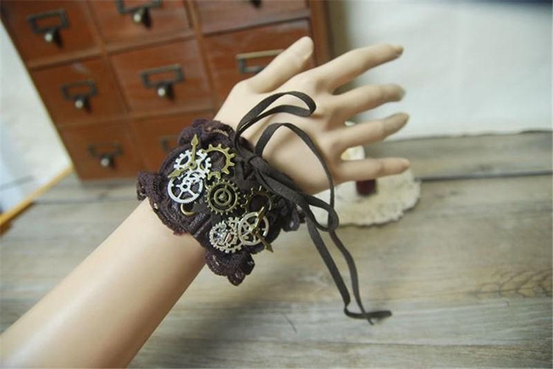 1pc Lolita Girls Gears Lace Bracelet Steampunk Victorian