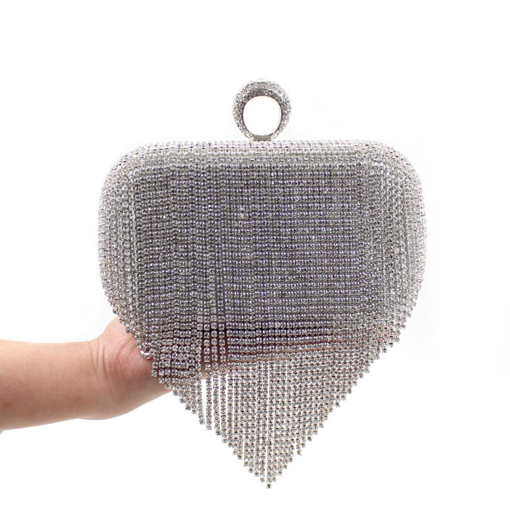 2015 New Style Women's Rhinestone Clutch. Grade PU Leather Handbag Full Diamond Tassel Wedding Bridal Purse Banquet Evening Bags - SuiHyung-Bag store