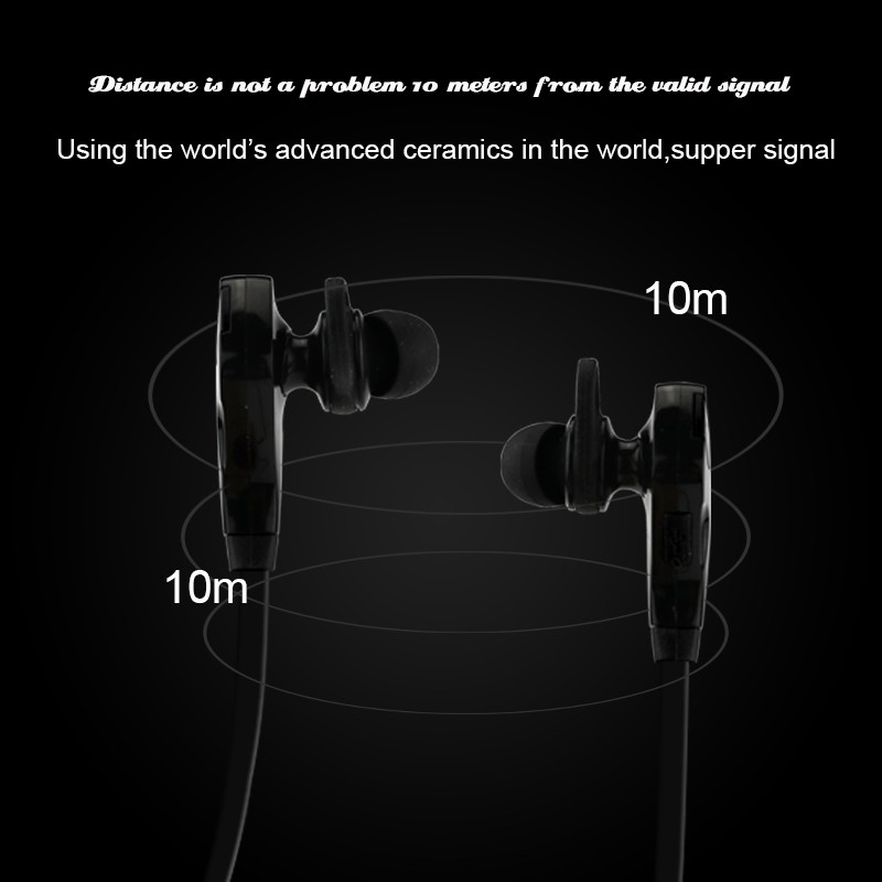 2016 New Sport Running Wireless Earphone Portable Stereo Bluetooth 4.1 Headset Noise Cancelling Headphones With Mic for iPhone 7