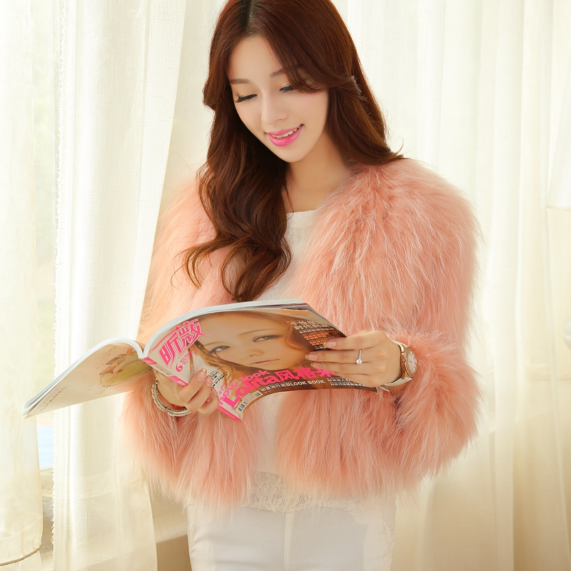 2014 Winter Real Raccoon Fur Knitted Coat, Women's Natural dog Jacket SU-14070 Russia E-packet Free