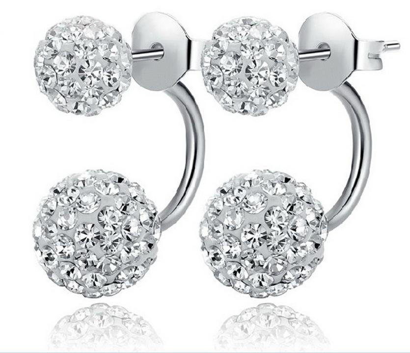 Cheap Beautiful 925 sterling silver created diamond stud earrings for women Shambhala High quality earrings ED21(China (Mainland))