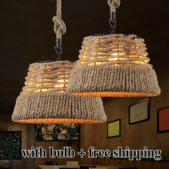 Free shipping Vintage Rope Pendant Light Lamp Creative Personality Industrial Lamp Edison Bulb American Style For Living Room(China (Mainland))
