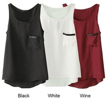 2015 Summer Style Women Tops Asymmetrical Women Shirt Pocket Round Neck Sleeveless cheap clothes Blouse free shipping,CC0006(China (Mainland))