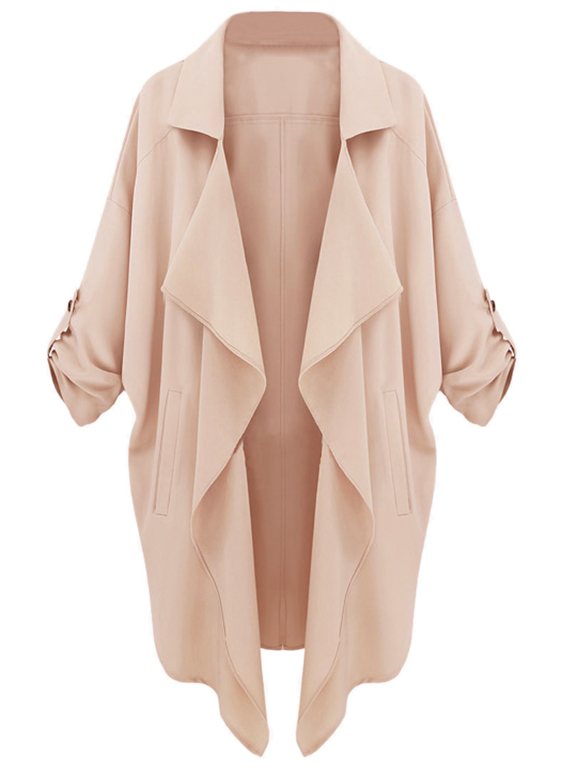 2015 Spring Women Vintage Half Sleeves Lapel Waterfall Trench Coat Cardigan Beige Navy Blue In Stock Free Shipping(China (Mainland))