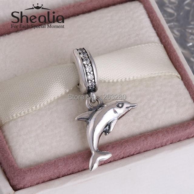 Лето коллекция 925 чистое серебро вымощает дельфин мотаться подвески-талисманы с камнями shealia ювелирные изделия подходит бренд своими руками браслеты DG154