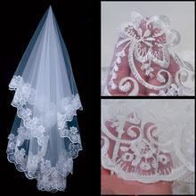 hot sale Wedding Veil Voile Mariage White 1.5 m Bridal Veils Without Comb Lace Edge Bridal Wedding Veil(China (Mainland))