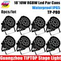 NEW Ultra Brightness 8pcs lot 18pcs 10W 4in1 Stage Lighting Led Par Lights Waterproof RGBW DMX512