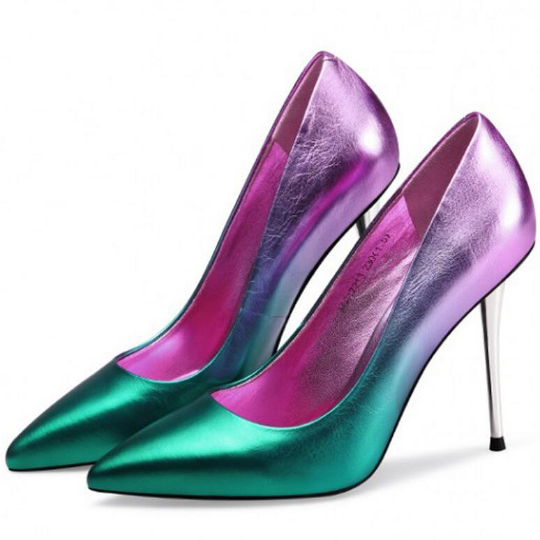 2016 Spring New Women High Heels Shoes Gradient Pumps Sexy Pointed Toe Genuine Leather Dress Wedding Party Shoes sapato feminino